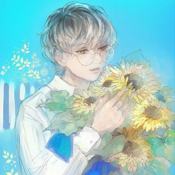 Ảnh anime boy hoa hướng dương cực chất