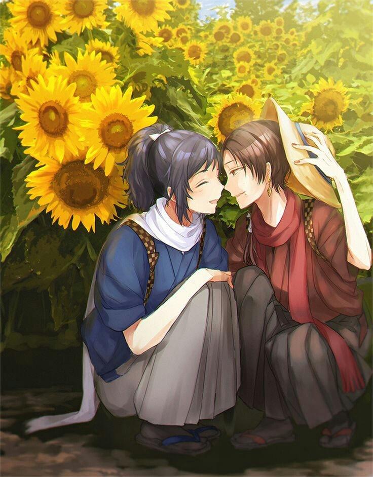 Ảnh anime đôi hoa hướng dương