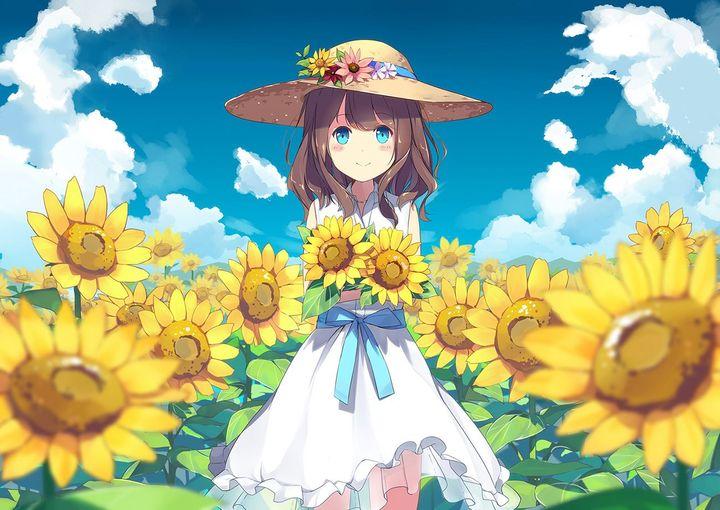 Ảnh anime girl và hoa hướng dương