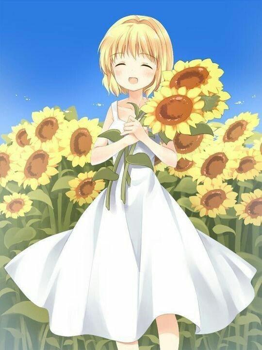 Ảnh anime hoa hướng dương đẹp