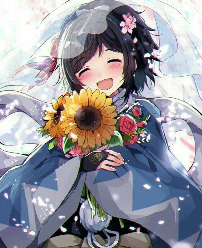 Ảnh anime hoa hướng dương hạnh phúc