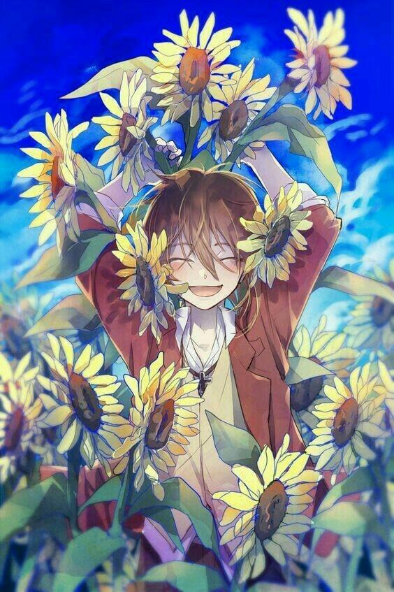 Ảnh anime hoa hướng dương vui cười