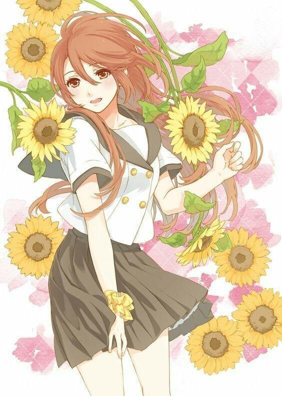 Ảnh dễ thương anime hoa hướng dương