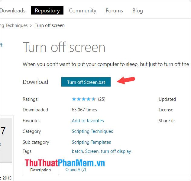 Bạn click vào Turn off Screenbat