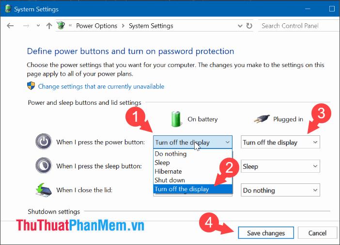 Bạn tìm đến mục When I press the power button và chuyển thành Turn off the display