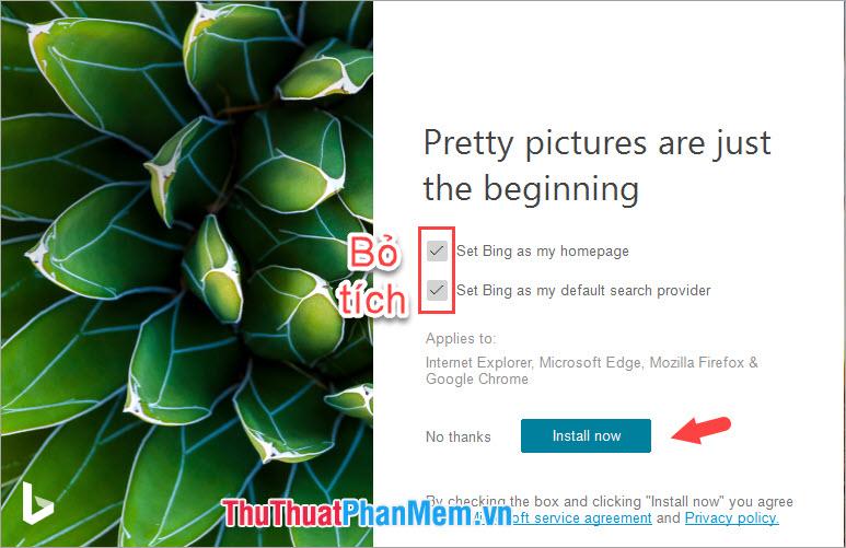 Bỏ tùy chọn Set Bing as my homepage và Set Bing as my default search provider