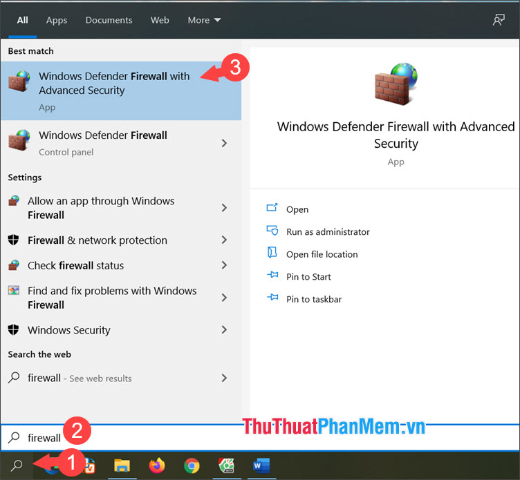 Chọn Windows Defender Firewall with Advanced Security