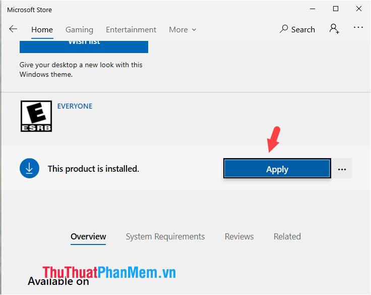 Click Apply để áp dụng Themes trên máy tính