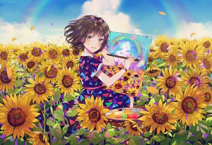 Hình ảnh anime cánh đồng hoa hướng dương