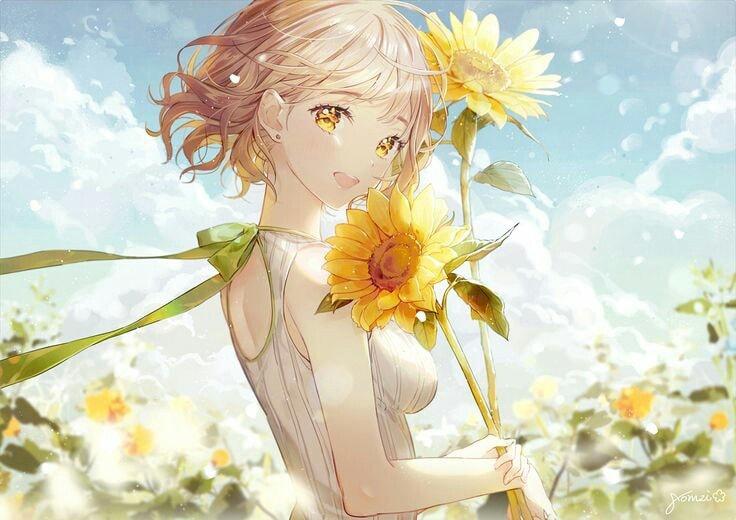 Hình ảnh anime girl hoa hướng dương