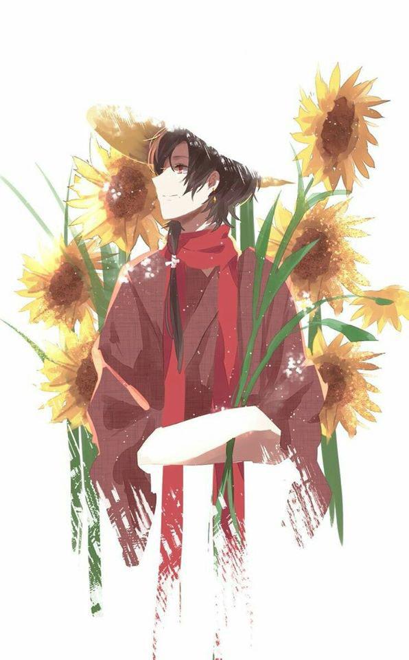Hình ảnh anime hoa hướng dương vẽ