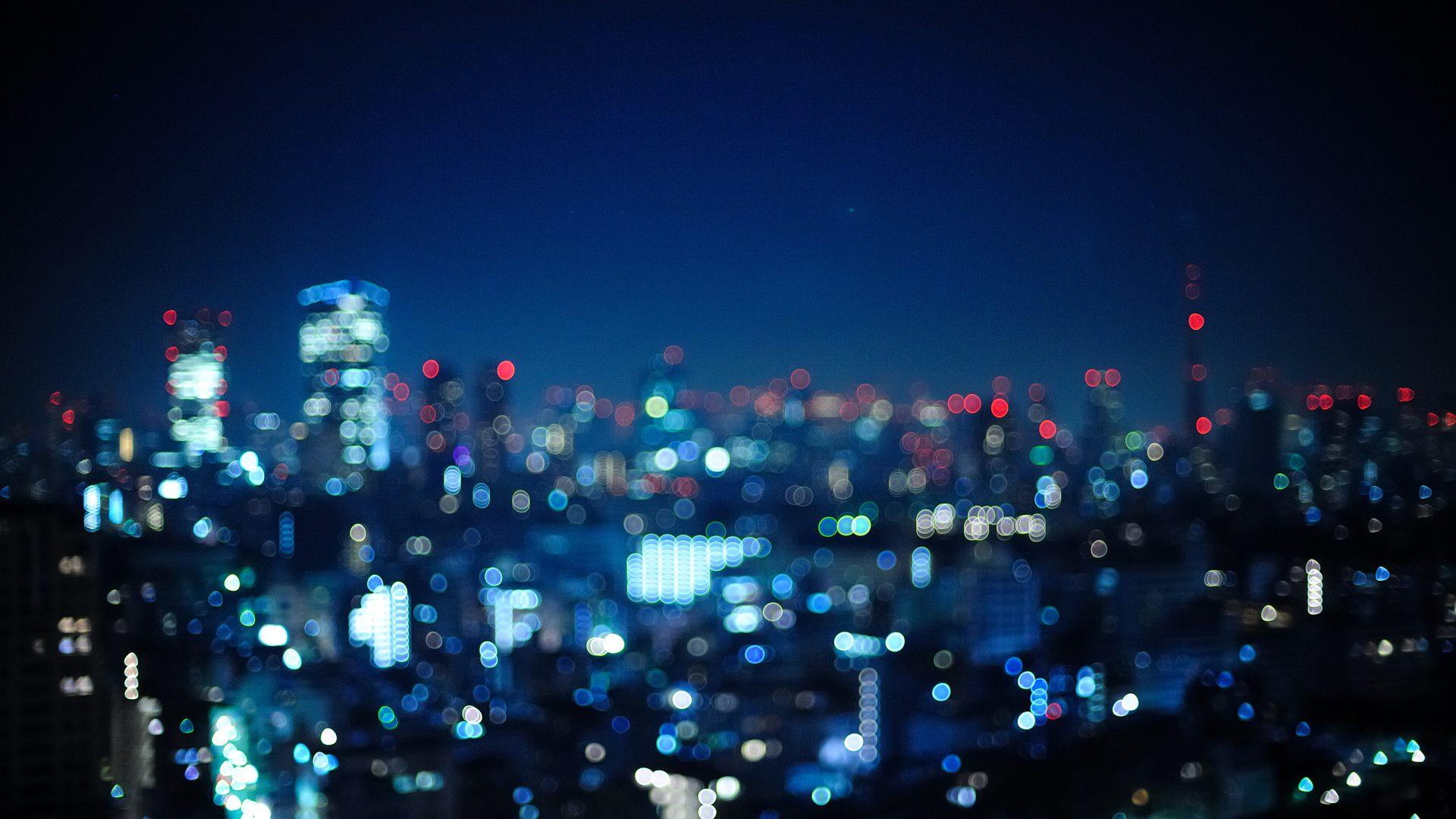 Hình ảnh Bokeh thành phố về đêm