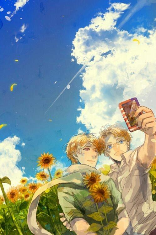 Hình ảnh boy anime hoa hướng dương
