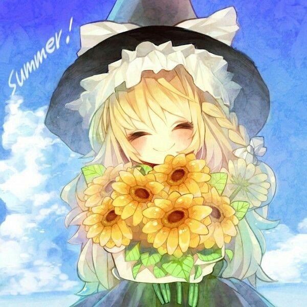 Hình anime bó hoa hướng dương