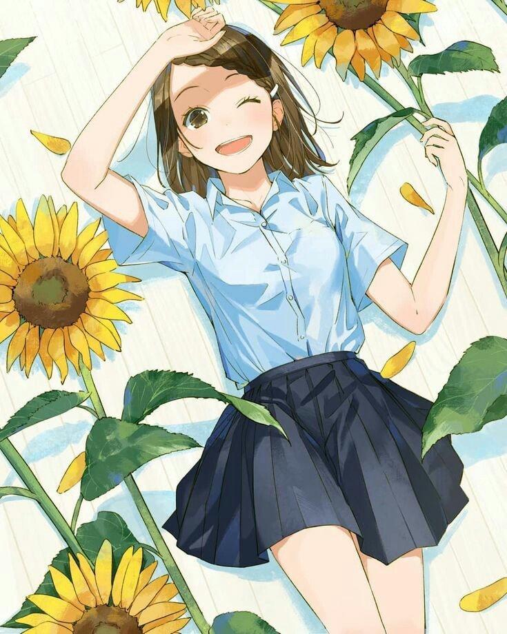 Hình anime hoa hướng dương dễ thương