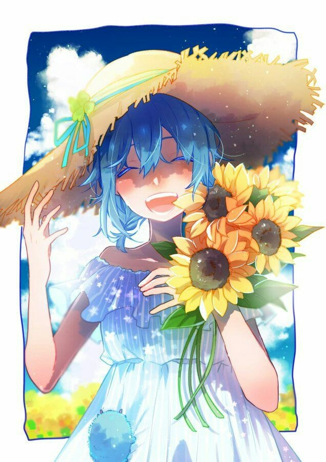 Hình anime hoa hướng dương đẹp và chất