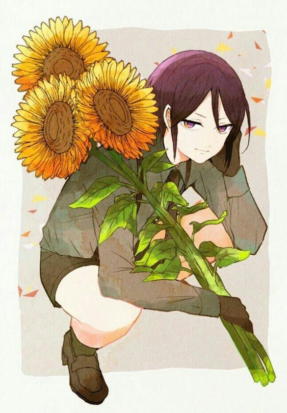 Hình anime hoa hướng dương tạo dáng