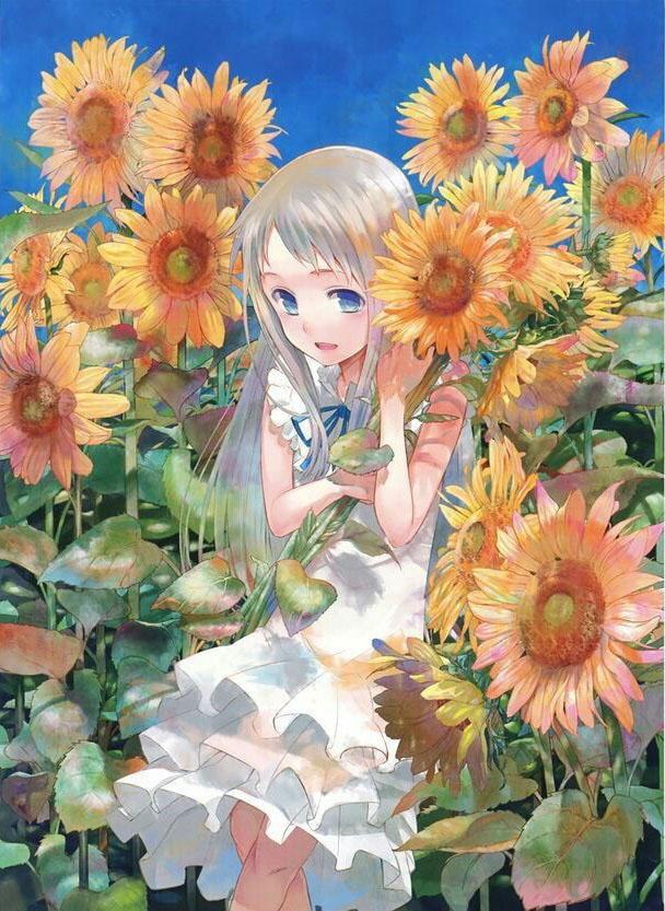 Hình anime nữ hoa hướng dương
