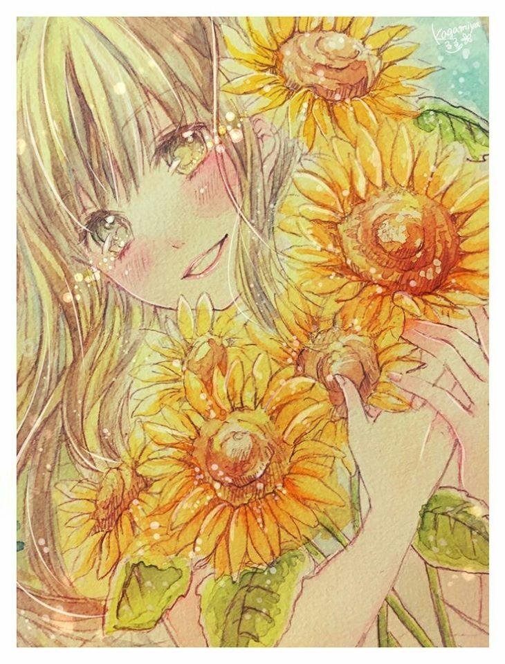 Tranh vẽ anime hoa hướng dương