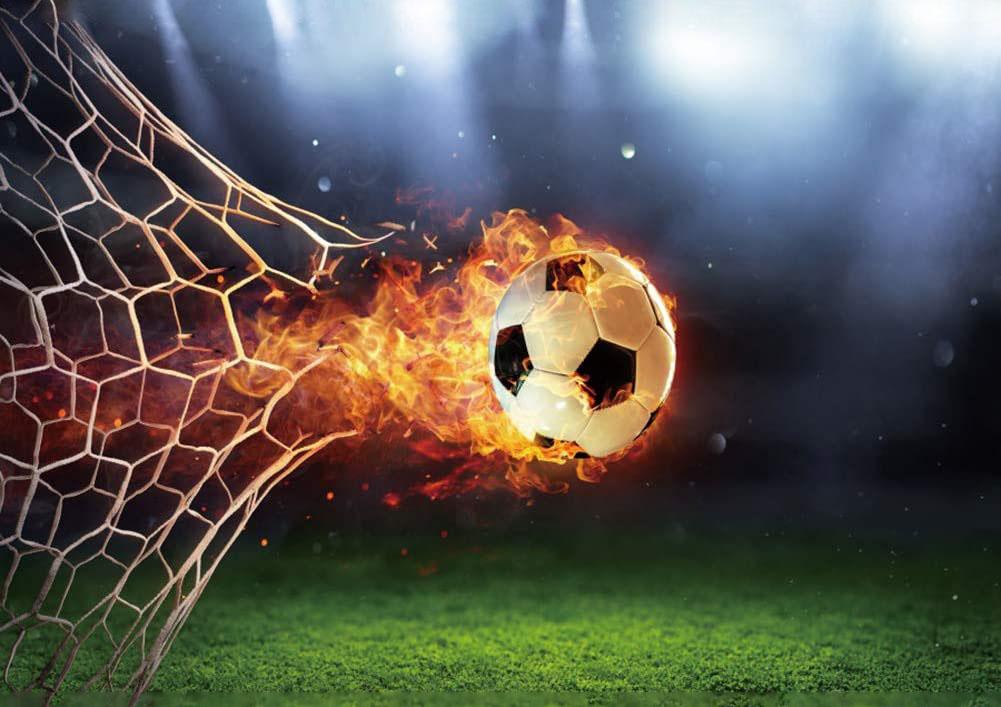 Background quả bóng đá rực lửa
