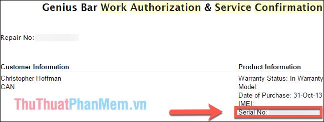 Bạn sẽ thấy số Sê-ri được hiển thị trong email xác nhận dịch vụ của Apple Store