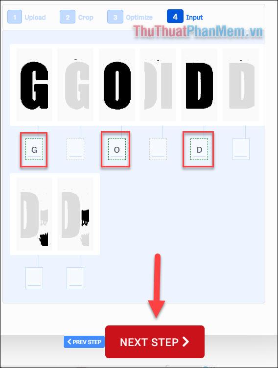 Điền ký tự tương ứng vào các ô mà bạn có thể nhìn thấy được