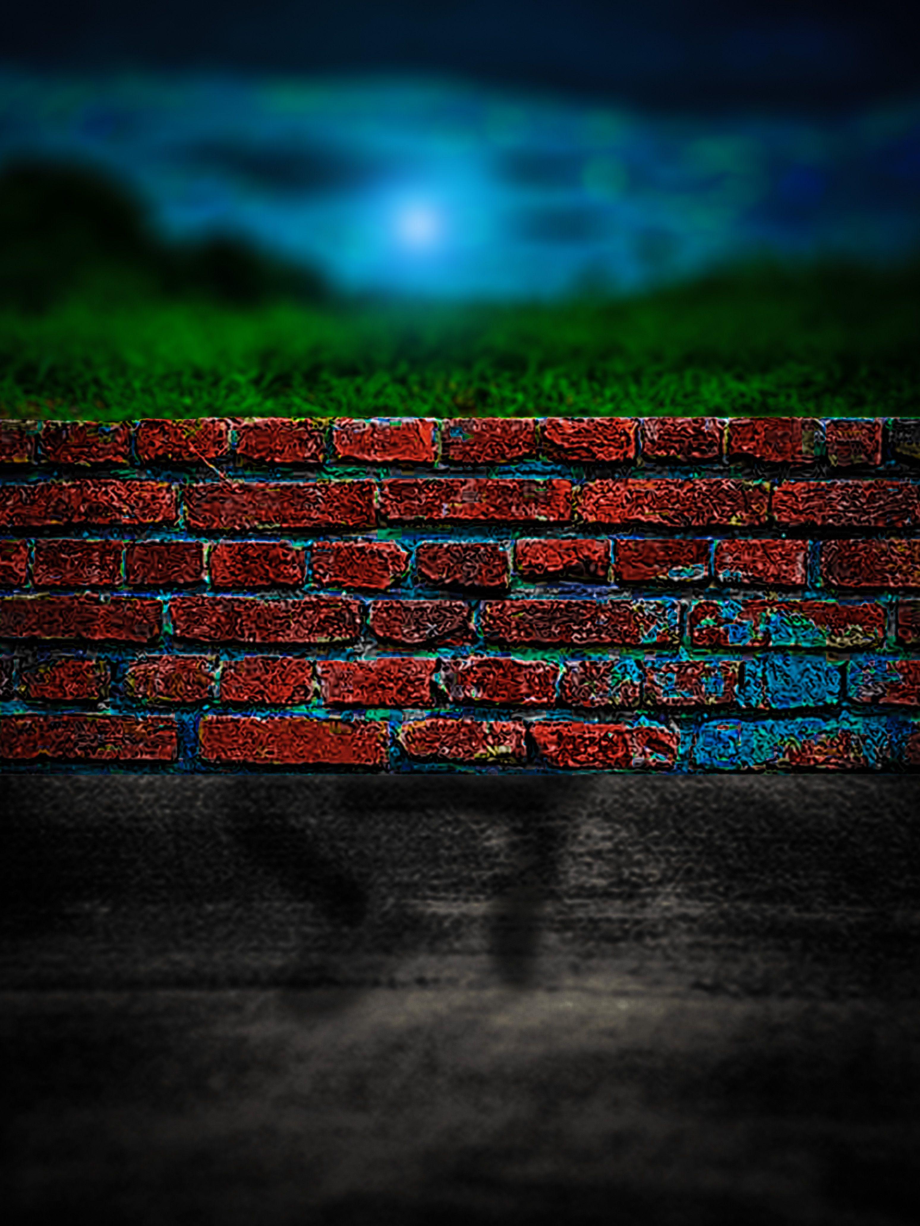 Hình ảnh background tường gạch cỏ xanh