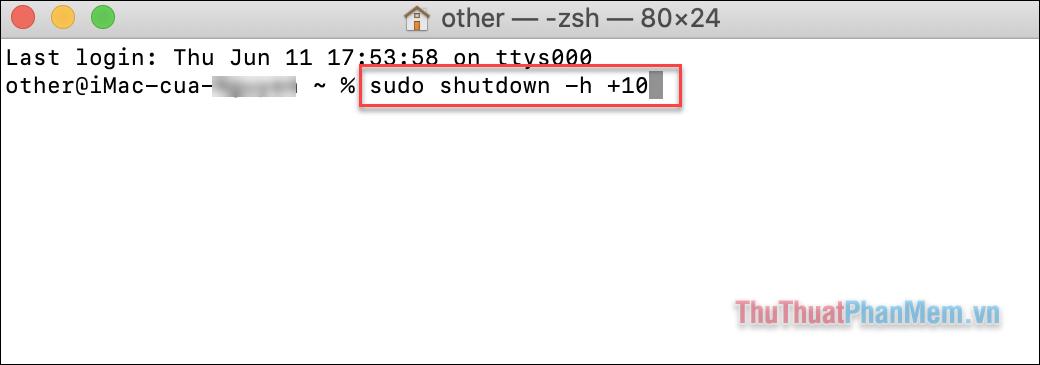 Nhập lệnh Sudo shutdown –h +10