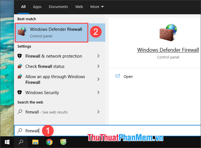 Chọn Windows Defender Firewall