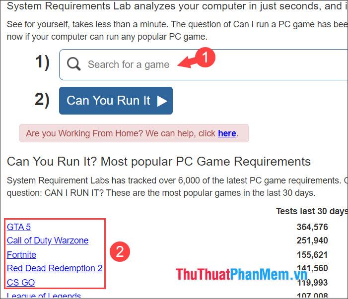 Click nhanh vào tựa game bạn cần kiểm tra