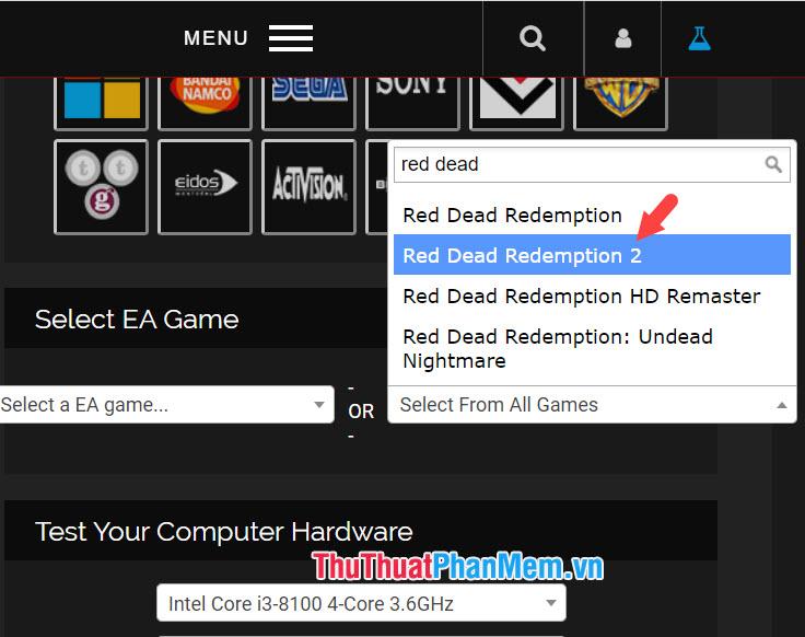 Click vào tên game để đưa game vào danh sách kiểm tra cấu hình máy