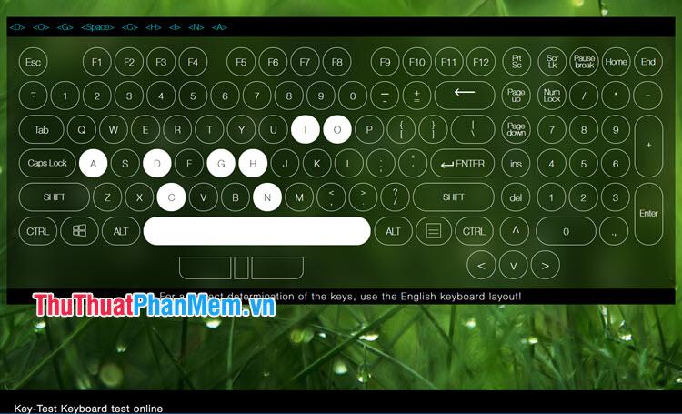 Tiến hành gõ các phím và kiểm tra nếu các phím tô trắng lên là được