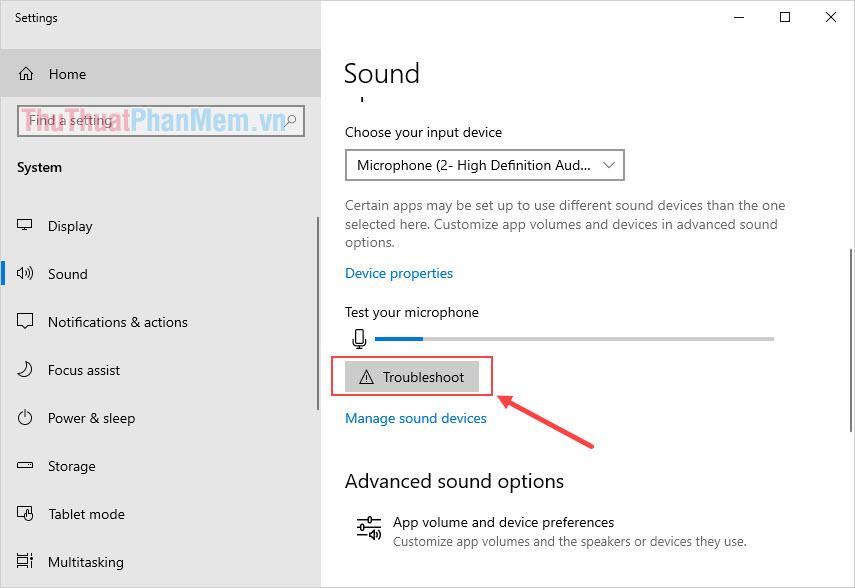 Chọn Troubleshoot của mục Microphone để chạy trình sửa lỗi