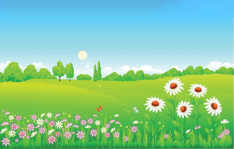 Hình ảnh bãi cỏ xanh hoạt hình