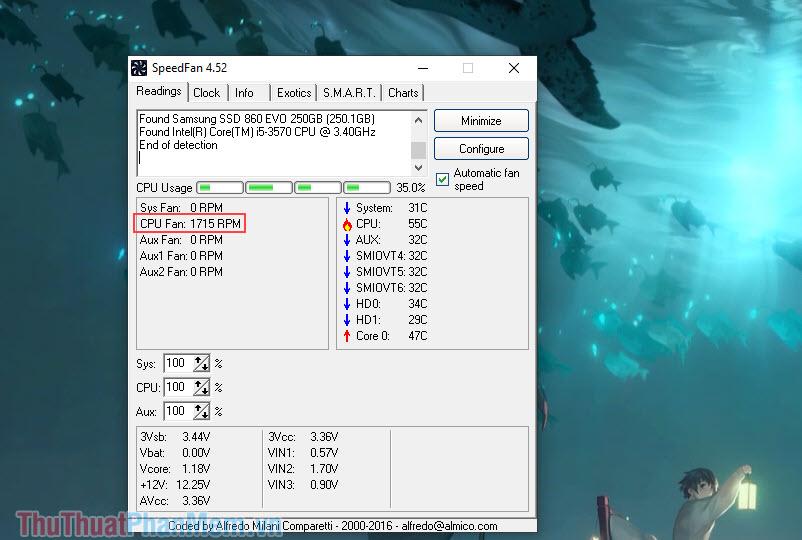Khởi động phần mềm lên để xem thông số CPU Fan – số vòng quay của quạt tản nhiệt