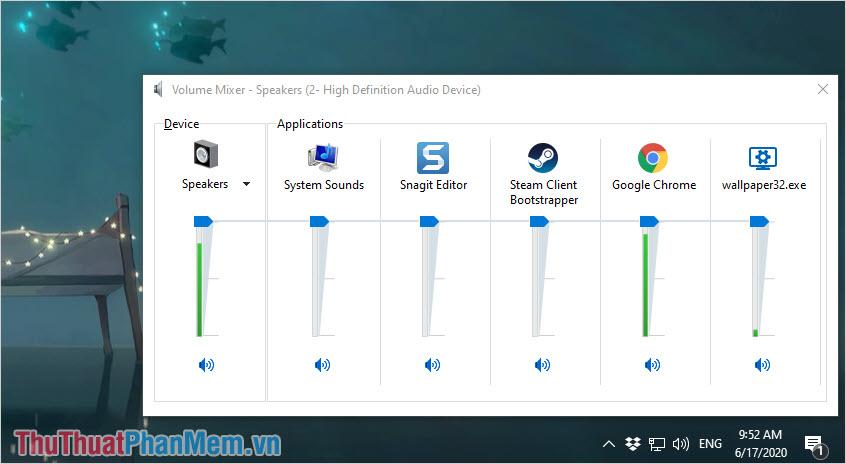 Tăng giảm các thanh âm lượng của các ứng dụng xem có nguồn phát âm thanh nào bị rè hay không