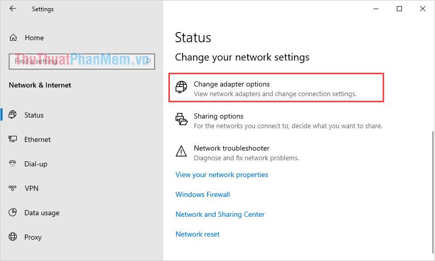 Chọn Change adapter options để tuỳ chỉnh thiết lập mạng
