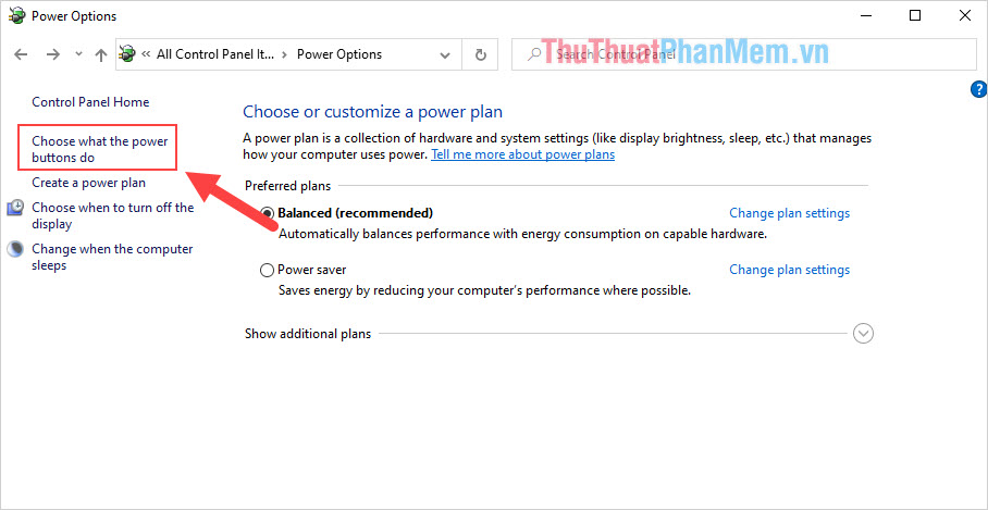 Chọn Choose what the power buttons do
