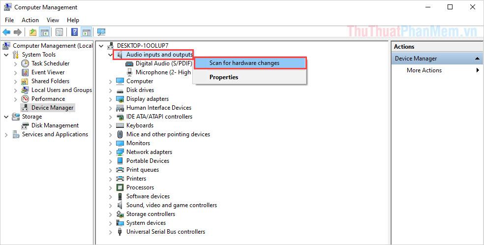 Chọn Scan for hardware changes để cập nhật lại thiết bị trên hệ thống