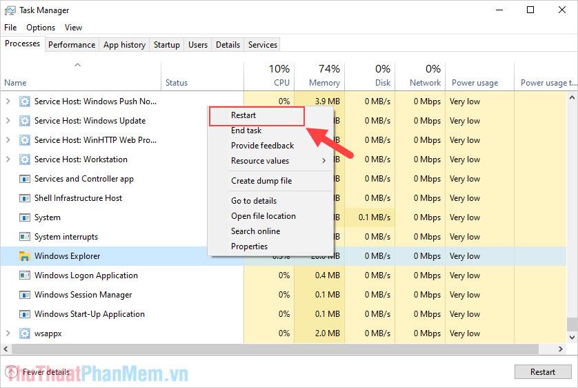 Click chuột phải vào Windows Explorer và chọn Restart