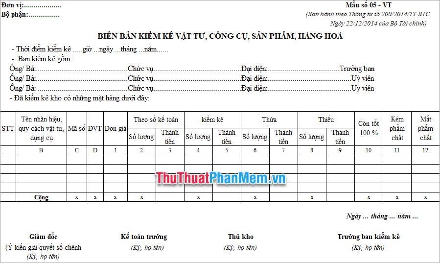 Demo file mẫu kiểm kê hàng tồn kho Excel mới nhất