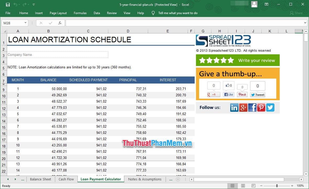 Demo Mẫu lập kế hoạch kinh doanh trên Excel 4