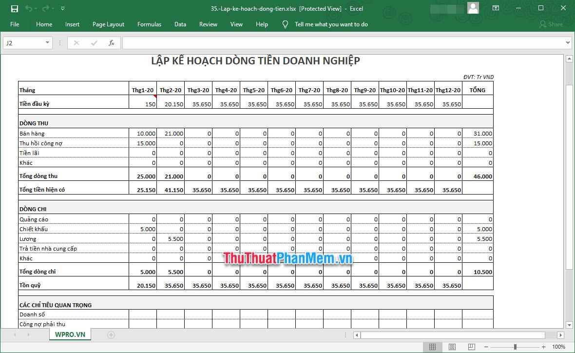 Demo Mẫu lập kế hoạch kinh doanh trên Excel 5