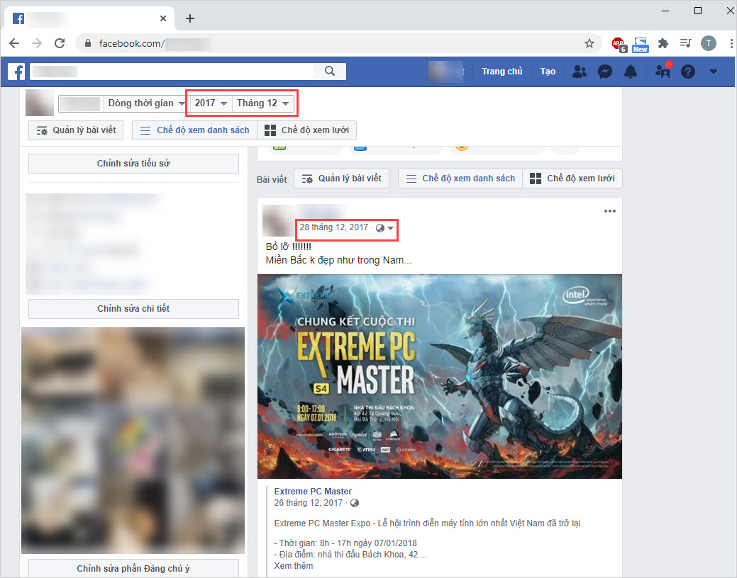 Facebook sẽ tự động lọc các bài viết theo năm tháng các bạn thiết lập