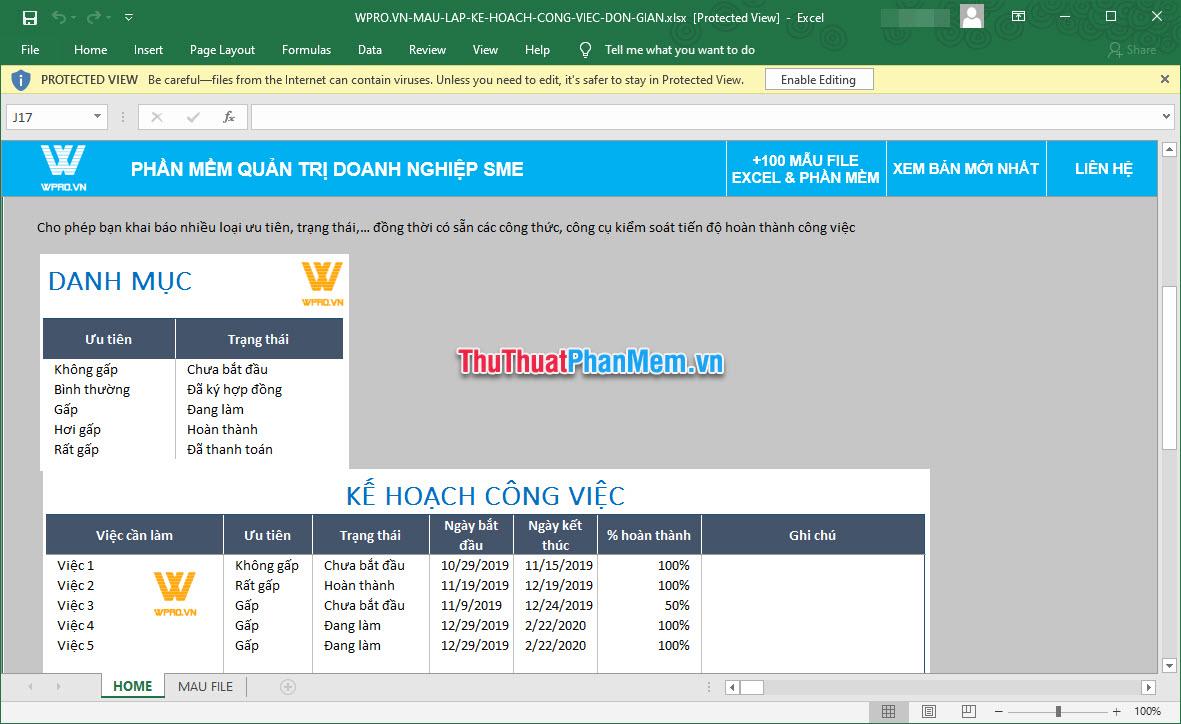 Mẫu kế hoạch công việc bằng Excel chuẩn 5