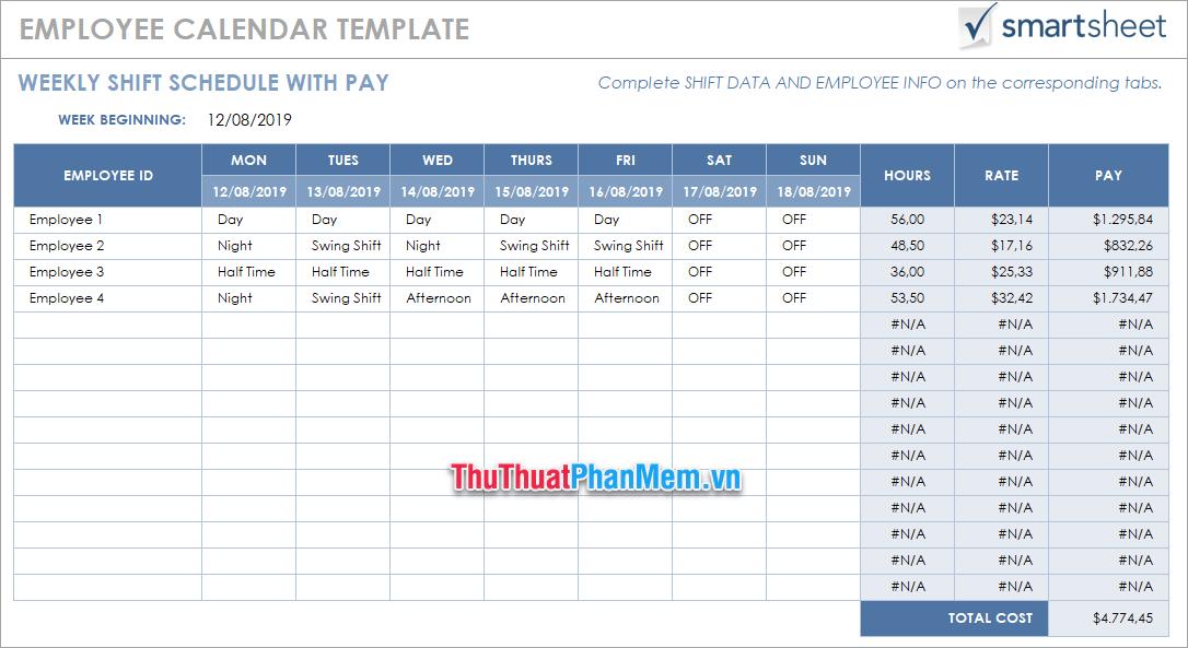 Mẫu tính lương Excel bằng tiếng Anh 3