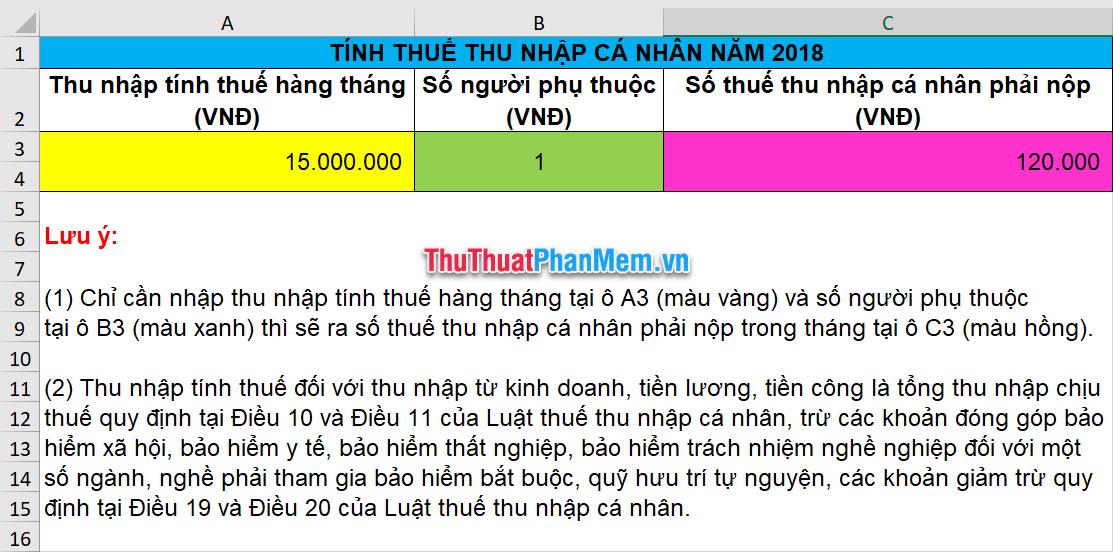 Mẫu tính lương Excel bằng tiếng Việt 3