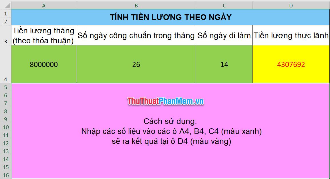 Mẫu tính lương Excel bằng tiếng Việt