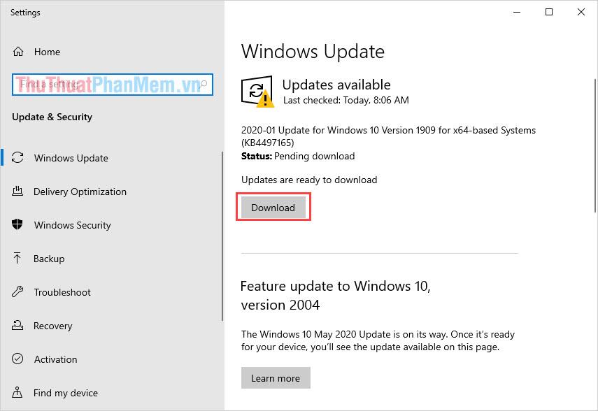 Nhấn Download để nâng cấp Windows