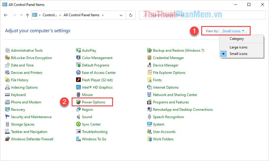 Thiết lập chế độ View by thành Small icons và chọn mục Power Options